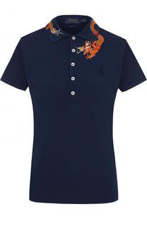 Хлопковое поло с контрастной вышивкой в виде дракона Polo Ralph Lauren