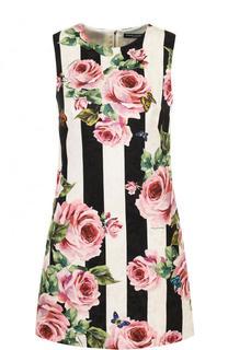 Мини-платье в полоску с цветочным принтом Dolce & Gabbana