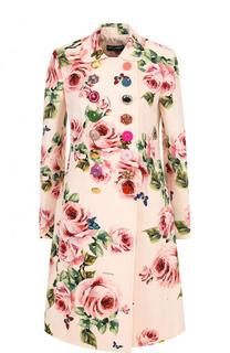 Двубортное пальто из смеси шерсти и шелка с принтом Dolce & Gabbana