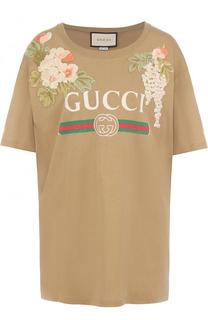 Хлопковая футболка свободного кроя с логотипом бренда Gucci
