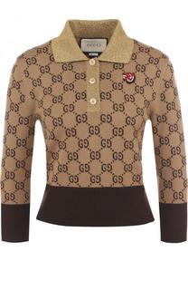 Пуловер с отложным воротником и укороченным рукавом Gucci