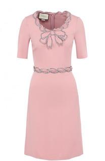 Приталенное мини-платье с круглым вырезом и коротким рукавом Gucci