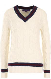 Кашемировый пуловер фактурной вязки с V-образным вырезом Ralph Lauren