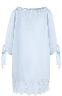 Льняное мини-платье с открытыми плечами 120% Lino