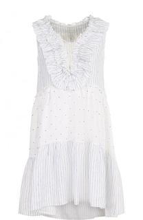 Льняное мини-платье с удлиненной спинкой 120% Lino