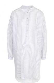 Удлиненная хлопковая блуза в полоску с воротником-стойкой 120% Lino