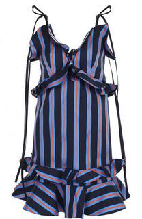 Мини-платье в полоску с оборками Kenzo