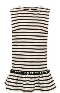 Хлопковое мини-платье в полоску с оборкой Marc Jacobs