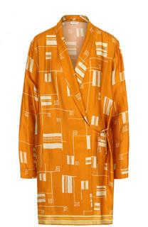 Приталенная удлиненная блуза с принтом Dries Van Noten