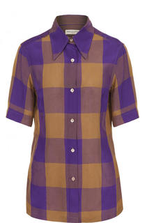 Приталенная блуза в клетку с укороченным рукавом Dries Van Noten