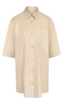 Однотонная хлопковая блуза свободного кроя Dries Van Noten