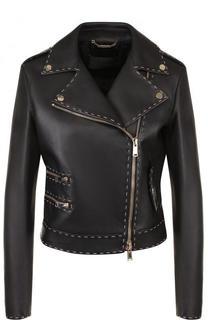 Кожаная куртка с косой молнией и контрастной прострочкой Versace