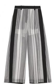 Полупрозрачные широкие брюки в полоску Sacai