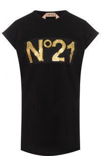 Хлопковый топ с логотипом бренда No. 21