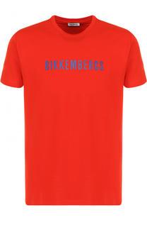 Хлопковая футболка с логотипом бренда Dirk Bikkembergs