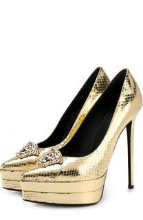 Туфли Palazzo из металлизированной кожи на шпильке Versace