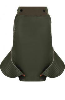 Однотонная юбка-миди с оборками Sacai