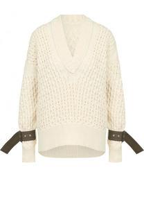 Однотонный пуловер фактурной вязки с V-образным вырезом Sacai