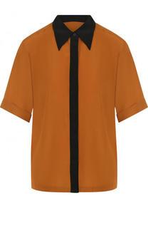 Шелковая блуза с контрастной отделкой и коротким рукавом Dries Van Noten