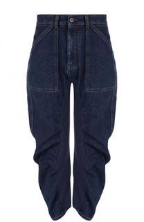 Укороченные джинсы с драпировкой и потертостями Stella McCartney