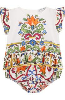 Хлопковый песочник с принтом и баской Dolce & Gabbana