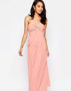 Платье макси в стиле бандо с рюшами Jarlo Petite Claudia - Розовый