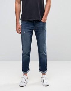 Темно-синие стретчевые джинсы слим прямого кроя Hollister - Синий