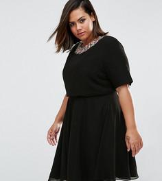Короткое приталенное платье с цветочной отделкой ASOS CURVE - Черный