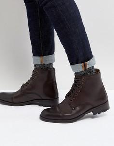 Коричневые кожаные ботинки в стиле милитари на шнуровке Ben Sherman - Коричневый