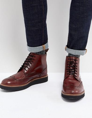 Бордовые кожаные ботинки-броги Dead Vintage - Красный