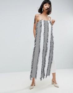 Платье-комбинезон макси с бахромой ASOS WHITE - Мульти