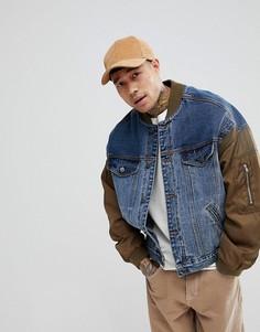 Синяя джинсовая куртка с рукавами в стиле бомбера ASOS - Синий