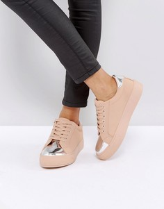 Кроссовки со вставкой металлик на носке Park Lane - Бежевый
