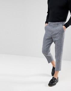 Суженные книзу строгие брюки из твида Харрис на основе 100% шерсти в светло-серую клеточку ASOS - Серый