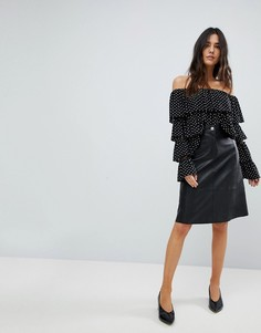 Полиуретановая юбка миди с пуговицами Traffic People - Черный