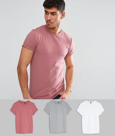 3 обтягивающих футболки с закатанными рукавами ASOS - СКИДКА - Мульти