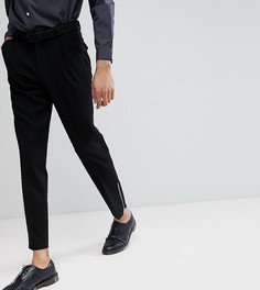 Черные укороченные брюки скинни с вафельной текстурой и молниями ASOS TALL - Черный