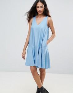 Свободное платье из шамбре FRNCH - Синий
