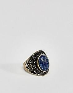 Золотистое кольцо с темно-синим камнем ASOS - Серебряный