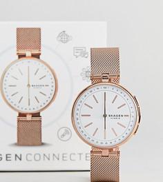 Смарт-часы с сетчатым ремешком цвета розового золота Skagen Connected SKT1404 - Золотой