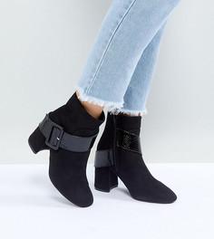 Черные ботильоны на каблуке для широкой стопы с пряжкой Lost Ink - Черный