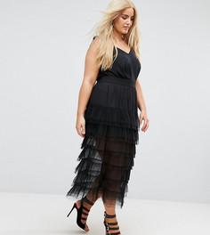 Ярусная юбка макси из тюля Elvi - Черный