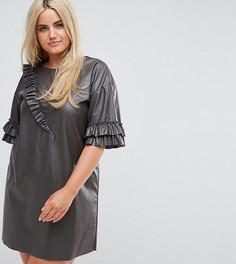 Платье-футболка из искусственной кожи с оборками Elvi - Черный