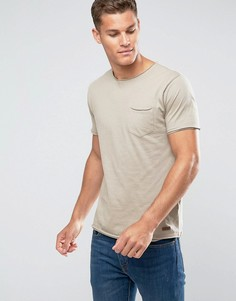 Базовая футболка с необработанными краями Brave Soul - Светло-бежевый