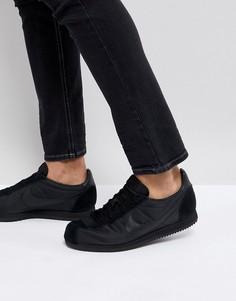 Черные кожаные кроссовки Nike Classic Cortez 807472-012 - Черный