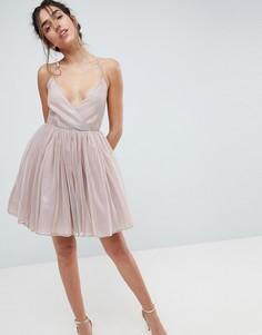 Платье мини металлик из тюля ASOS - Розовый