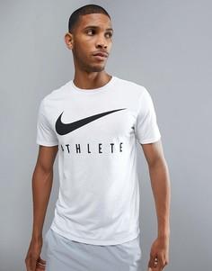 Белая футболка с логотипом Nike Training Dry Athlete 739420-100 - Белый