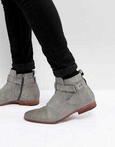 Серые замшевые ботинки челси с ремешком ASOS - Серый