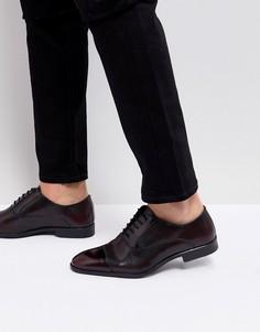 Бордовые кожаные оксфордские туфли с лазерной отделкой ASOS - Красный
