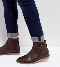 Коричневые кожаные ботинки челси для широкой стопы с ремешками ASOS - Коричневый